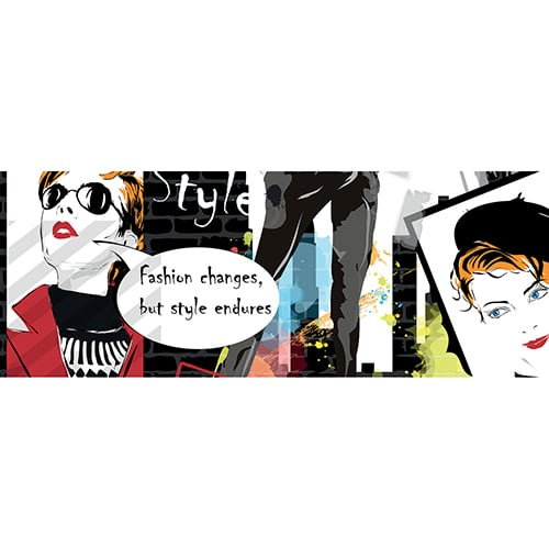 Sticker Graffiti avec dessin de femme fashion et bulle texte