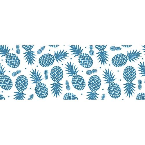 Sticker Ananas Bleus pour tête de lit mis en ambiance sur un mur clair