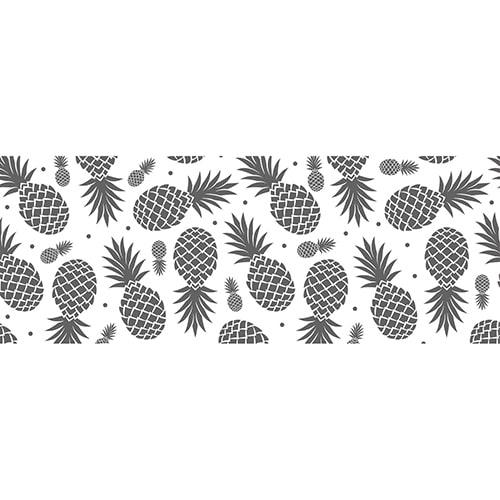 Adhésif grands Ananas Noirs et Blancs pour tête de lit au dessus d'un lit bleu