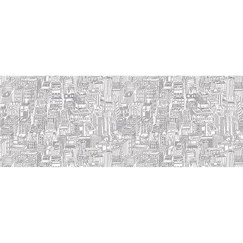 Sticker tête de lit dessin grande ville urbaine mis en ambiance dans une chambre à coucher aux murs clairs