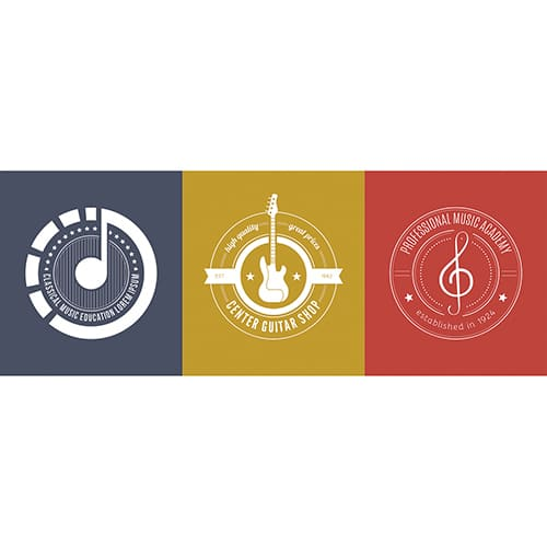Sticker logos et Notes de Musique mis en ambiance sur un mur gris clair