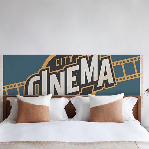 Adhésif Cinéma pour tête de lit bleu jaune noir