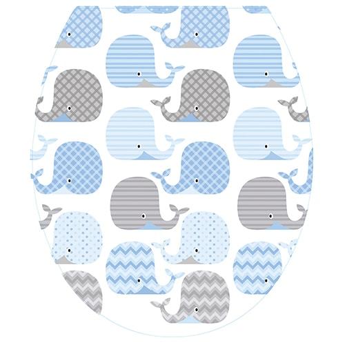 Sticker balaine pour abattant de toilette bleu et gris