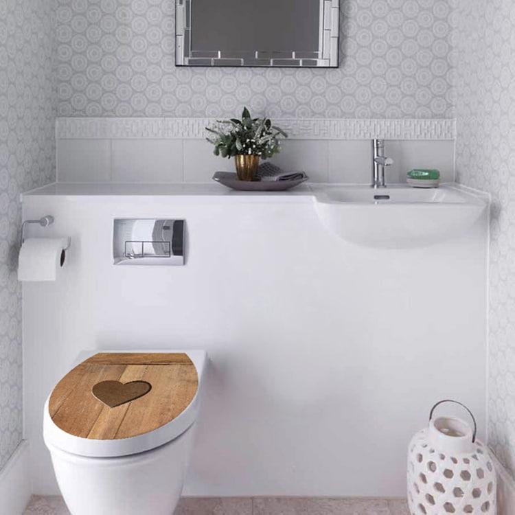 Stickers autocollant pour WC Coeur de Bois