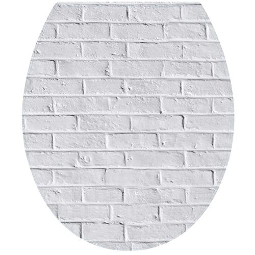 Sticker mur de briques blanche pour abattant de toilette