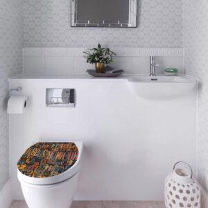 Sticker abattant de toilette coloré