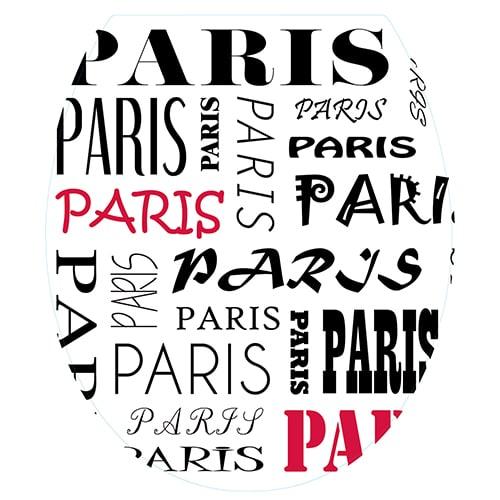 Sticker abattant de toilette Paris noir et rouge