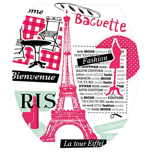 Stickers abattant de toilette paris rose et noir