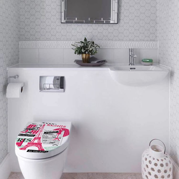 Sticker baroque rose pour abattant de toilette