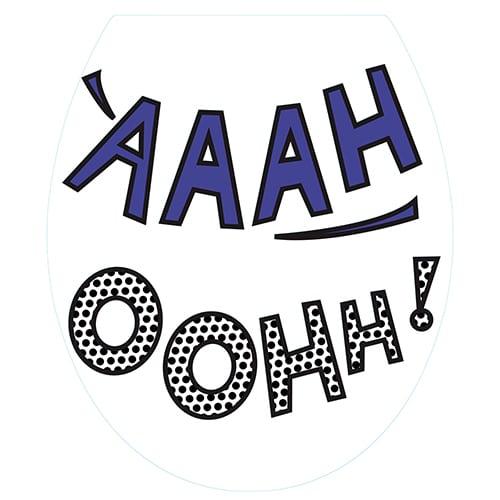 Sticker AH et OH pour abattant de toilette noir blanc et violet