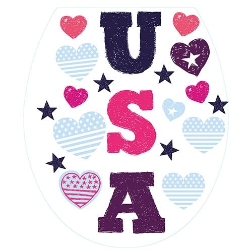 Stickers USA avec coeur pour abattant de toilette