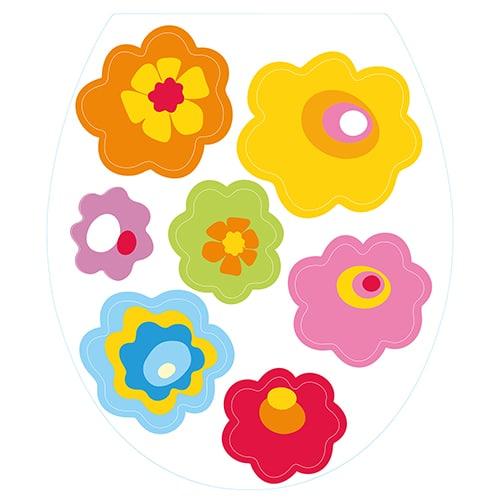 Sticker fleurs de couleurs pour abattant de toilette