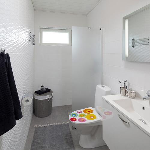Sticker fleurs de couleur pour abattant de toilette