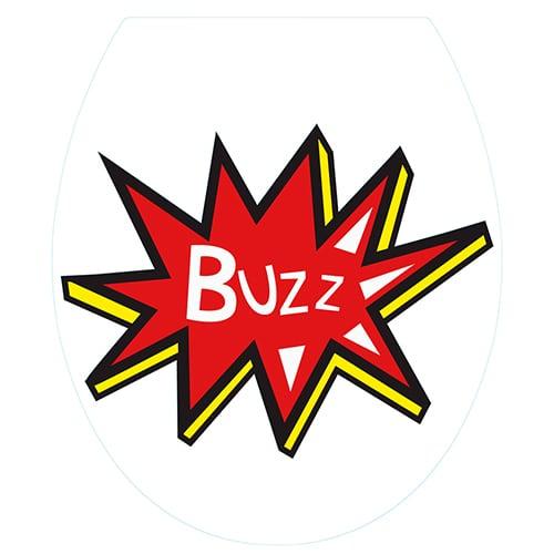 Sticker buzz pour abattant de toilette jaune et rouge