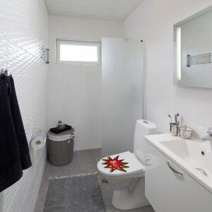 Sticker buzz rouge et jaune pour abattant de toilette