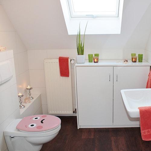 Sticker adhésifs Smiley Rose Triste pour décoration salle de bain