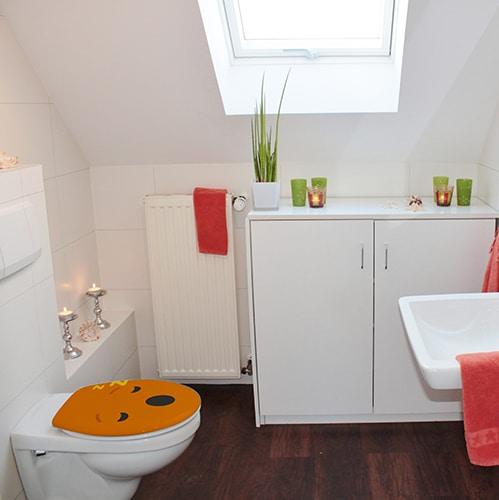 Sticker autocollant Smiley orange sommeil pour décoration salle de bain