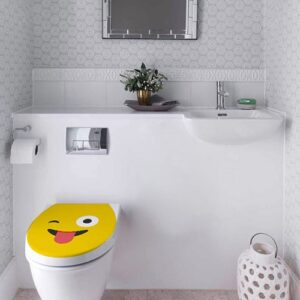 Sticker adhésif Smiley langue jaune sur WC