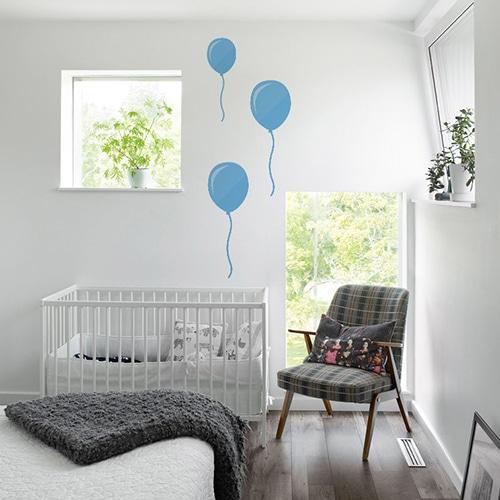 Sticker muraux Ballon bleus enfants