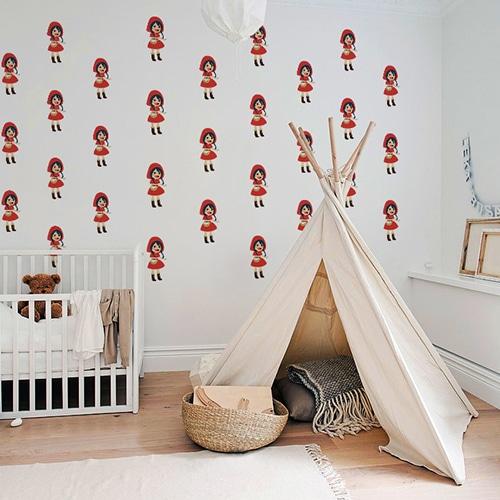 Mosaïque de Stickers muraux pour enfants Chaperon Rouge mis en ambiance dans une chambre pour bébé