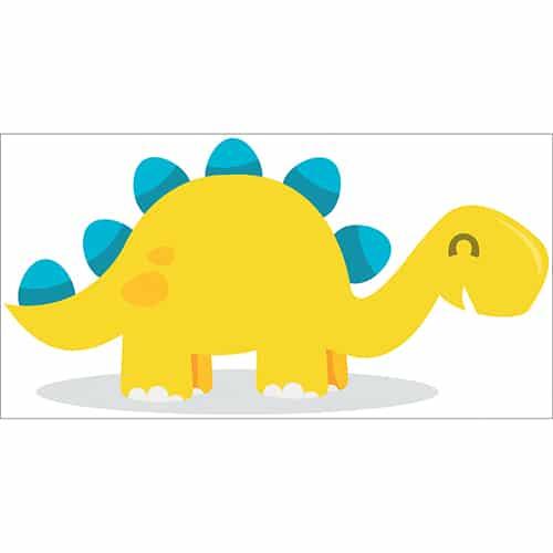 Sticker dinosaure jaune et bleu sur une flaque d'eau