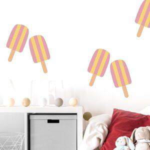 autocollants muraux déco esquimaux glacé rose et jaune pour enfants mis en ambiance sur un mur blanc