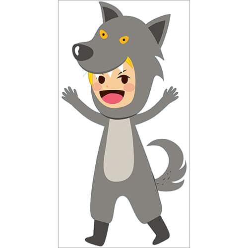 Sticker enfant déguisé en loup