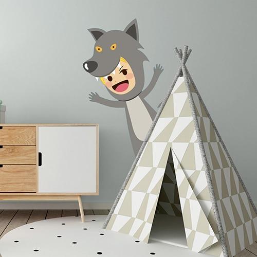 Sticker mural enfant déguisé en loup mis en ambiance dans une chambre pour enfant aux murs gris