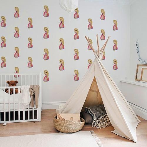 Mosaïque de Stickers muraux Princesse pour enfants mis en ambiance dans la déco d'une chambre pour bébé fille