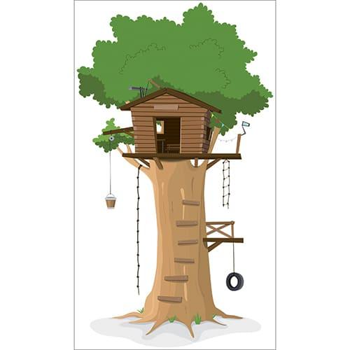 sticker pour enfant cabane en haut d'un arbre
