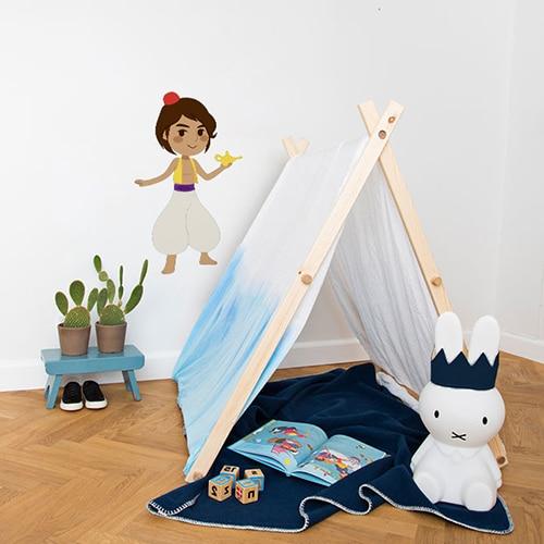 autocollant mural Aladin pour enfants mis en ambiance dans la déco d'une chambre pour enfant