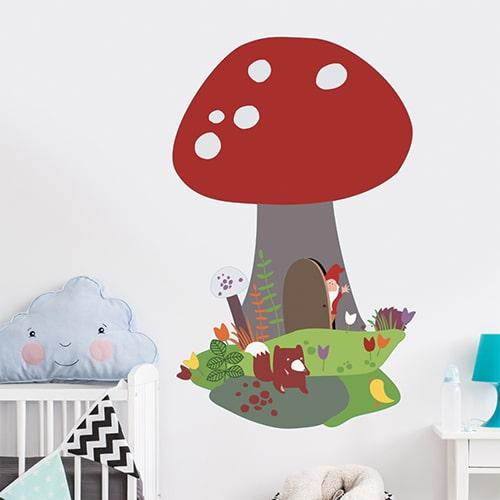 Sticker adhésif Champignon chambre enfants