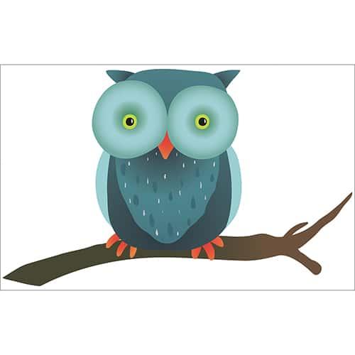 Sticker Hibou sur une Branche pour enfants