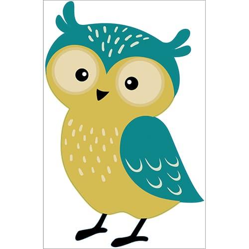 Sticker Hibou vert et jaune pour enfants