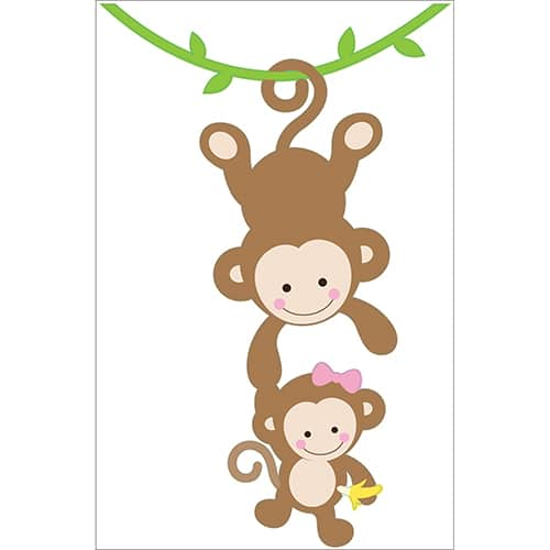 sticker deco bebe et maman singe pour enfant fille