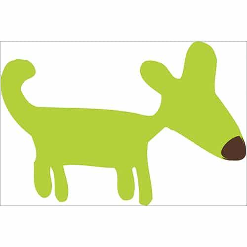 sticker dessin chien vert pour enfants