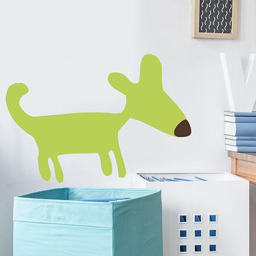 Sticker mural dessin chien vert pour enfants