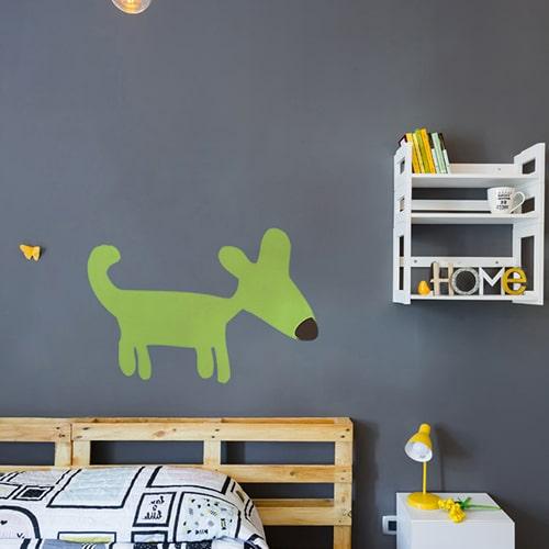 Autocollant Dog Vert pour chambre d'enfants
