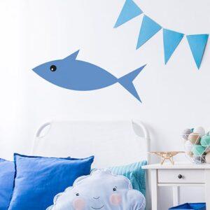 Sticker Poisson Bleu enfants mis en ambiance fond blanc
