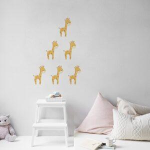 pyramide de girafes stickers pour enfants sur mur blanc