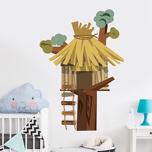 Sticker adhésif Savane Girafe et papillon multicouleur
