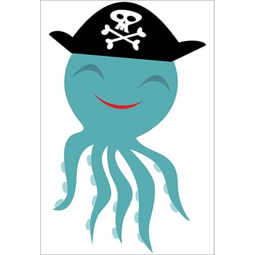 Sticker Pieuvre Pirate pour enfants