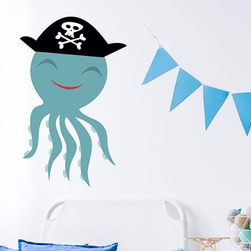 Sticker Pieuvre Pirate pour enfants mis en ambiance sur mur blanc