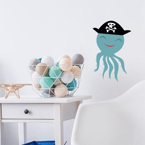 Sticker Pieuvre Pirate enfants sur mur clair