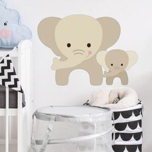 Sticker maman et bebe Éléphants pour enfants mis en ambiance derrière un berceau