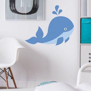Sticker Baleine enfants sur mur blanc