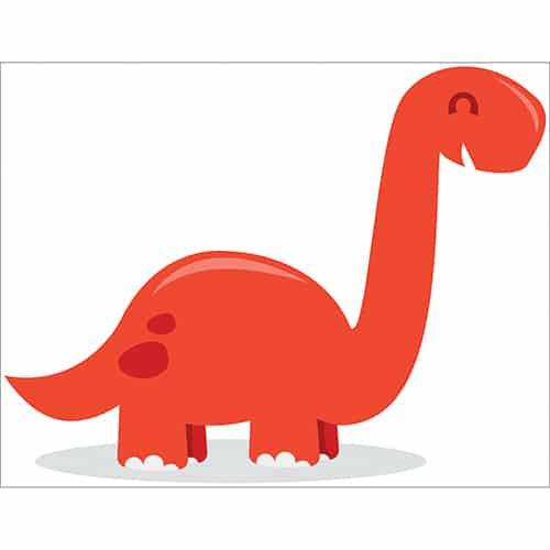 Sticker dinosaure rouge enfant avec ombre