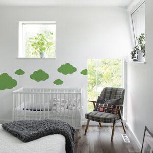 Autocollant Nuage Vert pour chambre d'enfant