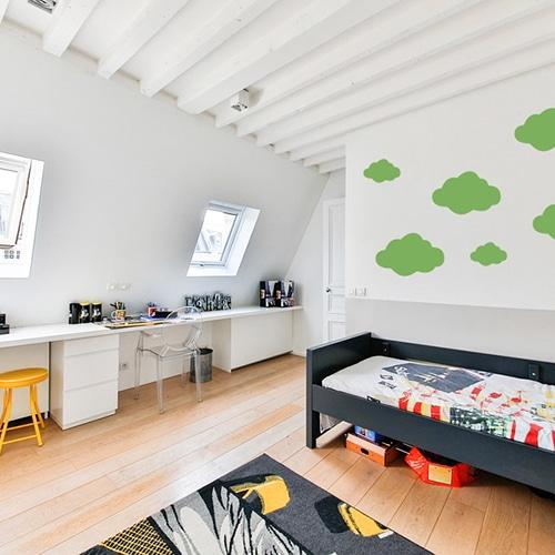 Adhésif Nuage Vert pour chambre d'enfant