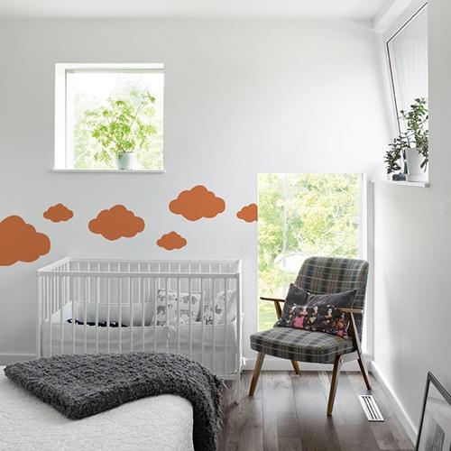 Adhésif nuage orange pour chambre d'enfant